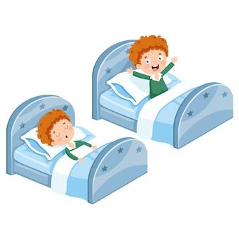 Ilustração do garoto dormindo e acordando