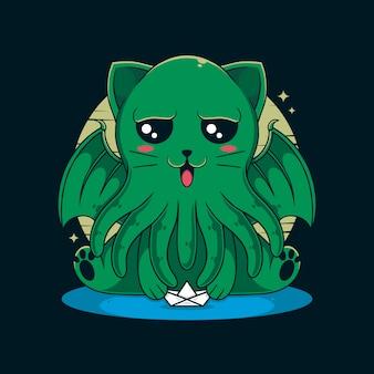 Ilustração do gato cthulhu