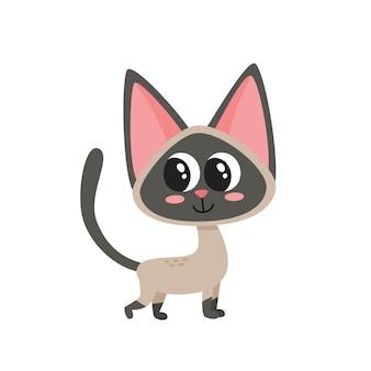 Ilustração do gato engraçado siamês dos desenhos animados, isolado no fundo branco.
