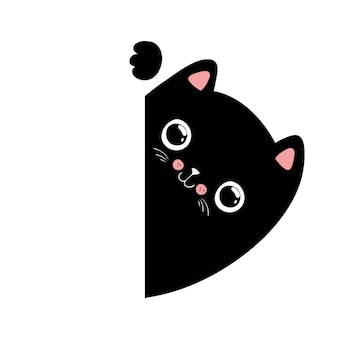 Ilustração do gato preto kawaii, seu texto aqui, vetor eps10.