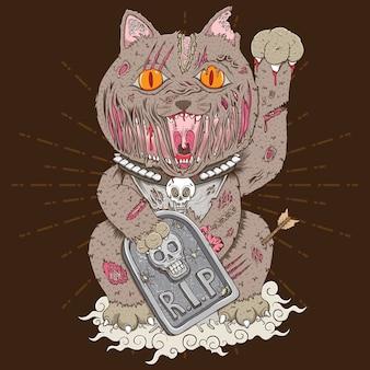 Ilustração do gato zombie maneki neko