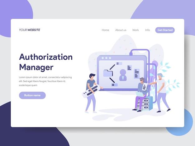 Ilustração do gerenciador de autorização para páginas da web