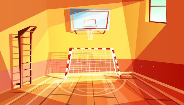 Ilustração do ginásio da faculdade ou do gym da escola e do interior do salão de esporte.