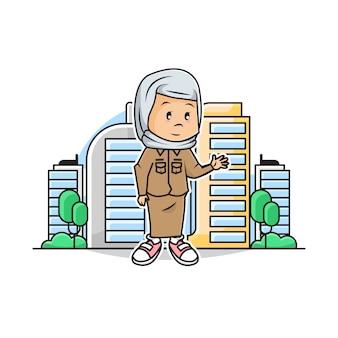 Ilustração do governador muçulmano linda garota com fundo cidade scape