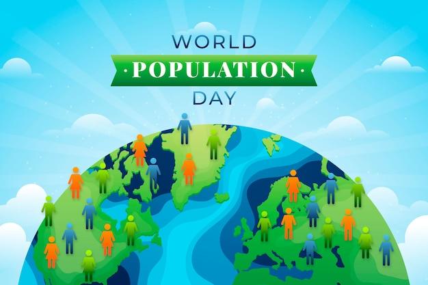 Ilustração do gradiente do dia da população mundial