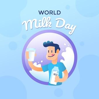 Ilustração do gradiente do dia mundial do leite