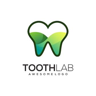 Ilustração do gradiente do logotipo colorido da arte da linha do dente