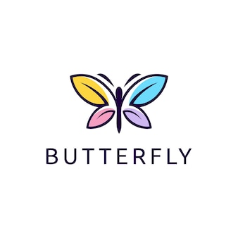 Ilustração do gráfico vetorial criativo moderno colorido borboleta modelo de design de logotipo