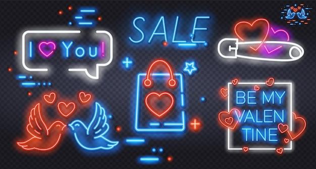 Ilustração do grande conjunto de logotipos de neon