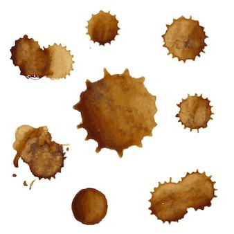 Ilustração do grande conjunto de manchas de café
