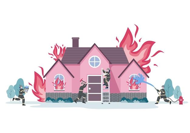 Ilustração do grupo de bombeiros