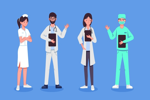 Ilustração do grupo de pessoas médicas