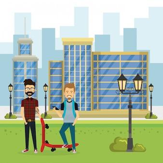 Ilustração do grupo de pessoas no parque