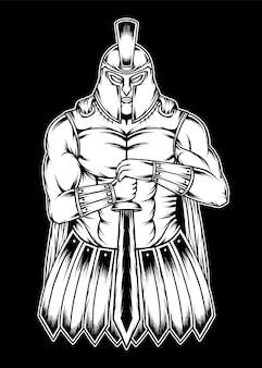 Ilustração do guerreiro espartano do vintage. vetor premium