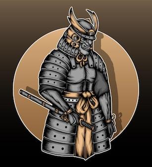 Ilustração do guerreiro samurai japonês.