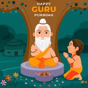 Ilustração do guru purnima dos desenhos animados