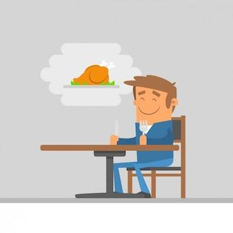 Ilustração do homem à espera da comida
