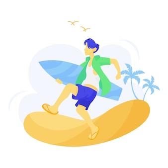 Ilustração do homem carregando uma prancha de surf