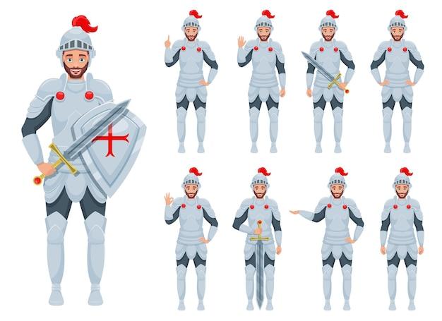 Ilustração do homem cavaleiro isolada no branco