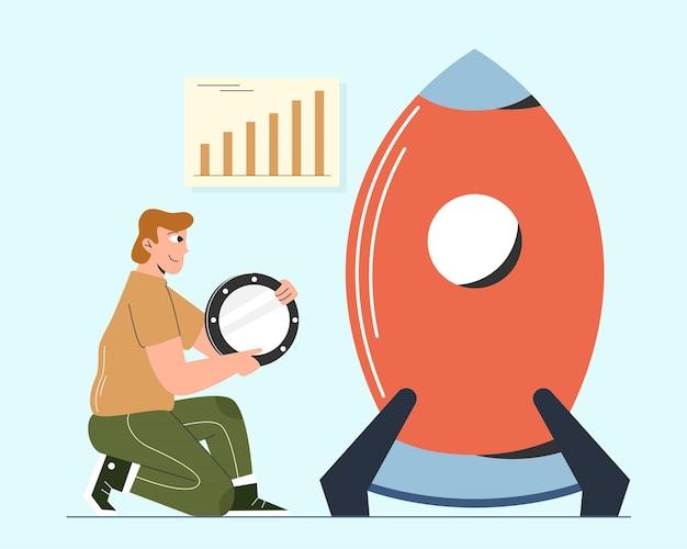 Ilustração do homem criar projeto empresarial