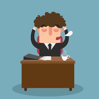 Ilustração do homem de escritório adormecendo enquanto trabalha