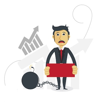 Ilustração do homem de negócios com conceito do progresso do lucro.