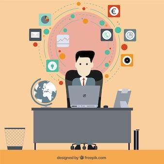 Ilustração do homem de negócios em design plano