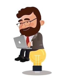 Ilustração do homem de negócios para obter uma ideia