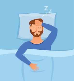 Ilustração do homem dormindo