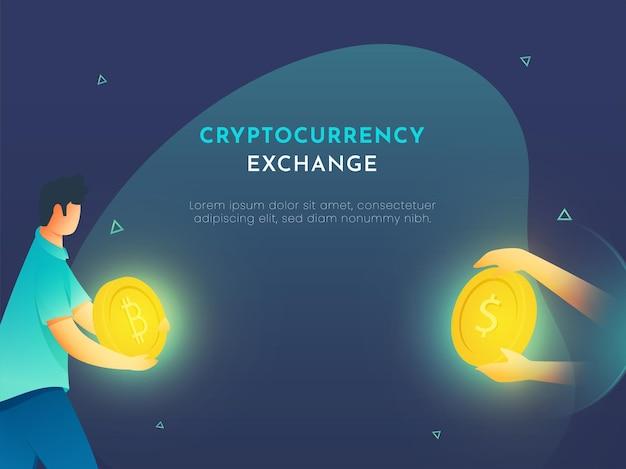Ilustração do homem dos desenhos animados troca bitcoin para dólar para o conceito de criptomoeda.