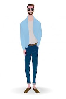 Ilustração do homem em roupas casuais