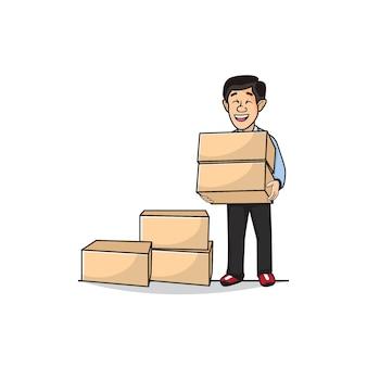 Ilustração do homem está carregando uma caixa de embalagem.