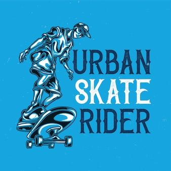 Ilustração do homem no skate