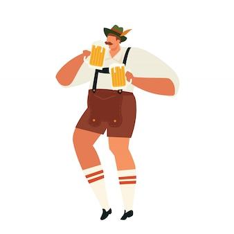 Ilustração do homem oktoberfest comemorando. ilustração em vetor plana conceito festa.