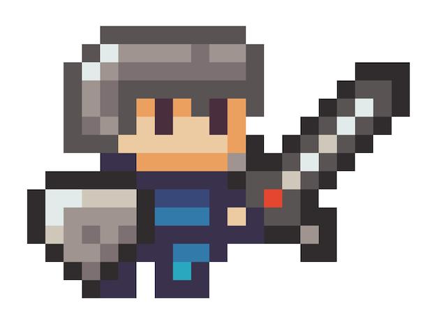Ilustração do homem pixel com uma espada