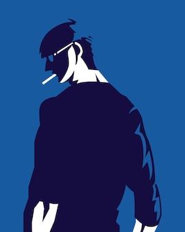 Ilustração do homem por trás em estilo moderno