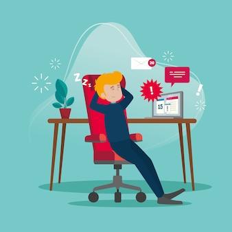 Ilustração do homem que adia o trabalho em casa
