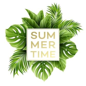 Ilustração do horário de verão com folha de palmeira tropical
