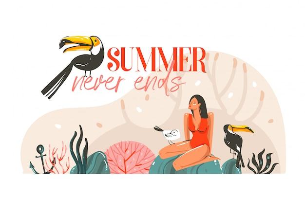 Ilustração do horário de verão com garota, pássaros tucanos na cena da praia e tipografia moderna o verão nunca acaba isolado no fundo branco