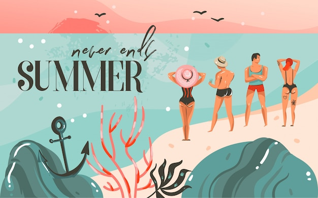 Ilustração do horário de verão, paisagem da praia do oceano, pôr do sol rosa, cena de meninos e meninas na praia e tipografia sem fim