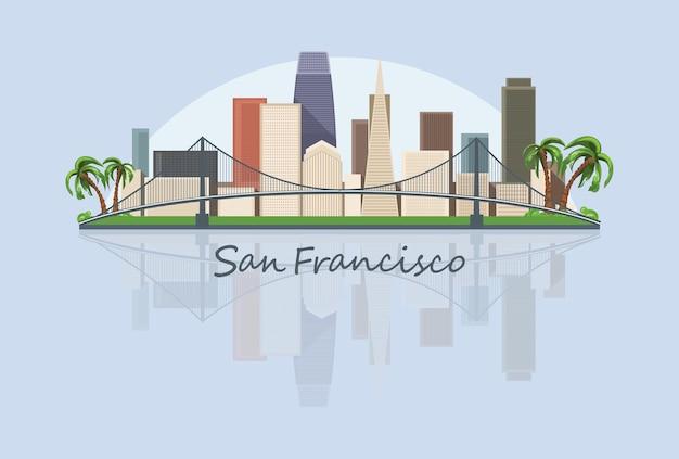 Ilustração do horizonte da cidade de são francisco nos eua