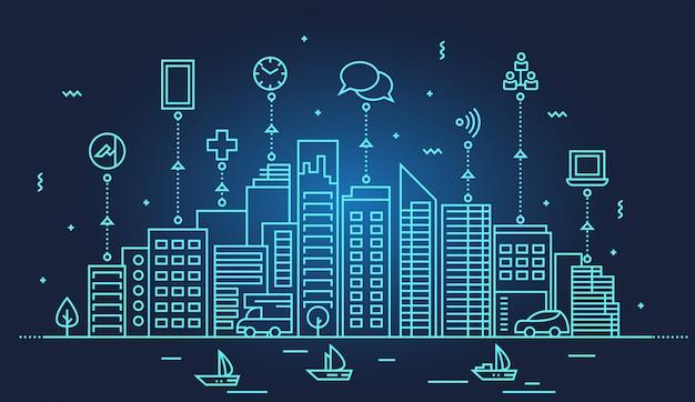 Ilustração do horizonte da cidade inteligente
