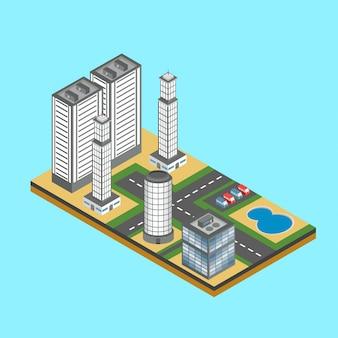 Ilustração do horizonte da cidade isométrica