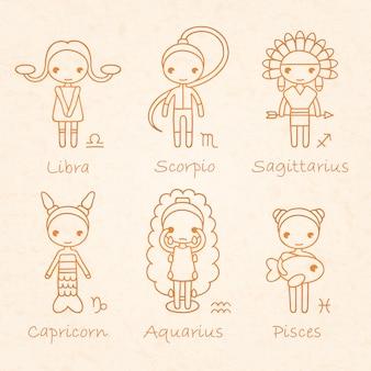 Ilustração do horóscopo do zodíaco