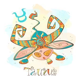 Ilustração do horóscopo infantil. zodíaco para crianças. signo de touro