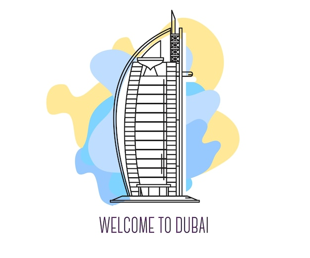 Ilustração do hotel burj al arab, marco de dubai, símbolo dos emirados árabes unidos