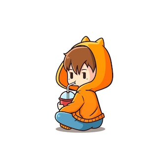 Ilustração do ícone bebendo do menino bonito