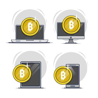 Ilustração do ícone bitcoin com dispositivo