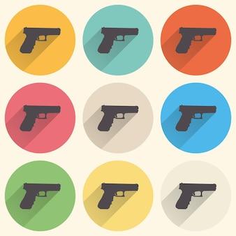 Ilustração do ícone da arma. imagem criativa e retro