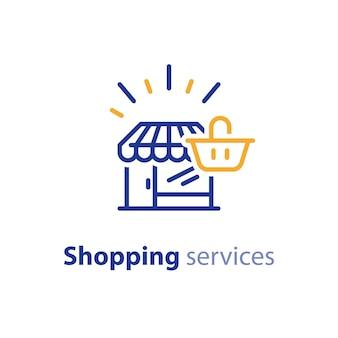 Ilustração do ícone da linha de compras